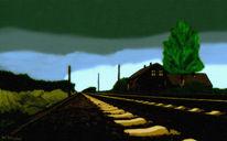 Schiene, Strecke, Bahn, Himmel