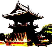 Japanisch, Tempel, Shinto, Druck