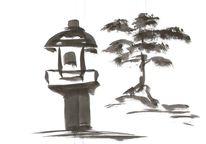 Gartengestaltung, Steinlaterne, Japanischer garten, Zeichnung