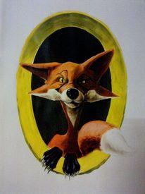Comic, Fuchs, Acrylmalerei, Malerei
