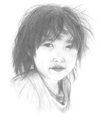 Kinder, Orientalisch, Bleistiftzeichnung, Portrait