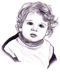 Portrait, Kinder, Bleistiftzeichnung, Zeichnungen