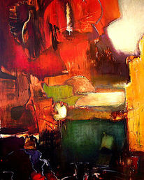 Grûn rot gelb, Malerei, Abstrakt, Nacht