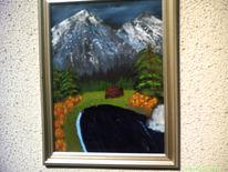 Berg see landschaft, Gemälde oel, Ölmalerei, Malerei