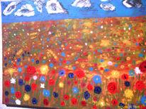 Blumen rot blau gelb weiss, Weiß, Malerei, Abstrakt