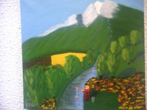 Berge fluß landschaft, Grün gelb leinwand gemälde, Malerei, Angler