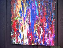 Rot blau gelb, Malerei, Abstrakt, Flammen