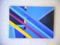 Abstrakt, Blau belb, Malerei