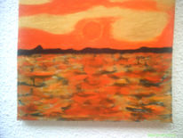 Sonne meer wasser, Sonnenuntergang, Acryl abstrakt leinwand, Malerei