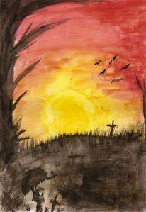 Morgenrot, Sonnenaufgang, Friedhof, Malerei