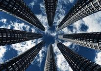 Perspektive, Wolken, Design, Hochhaus