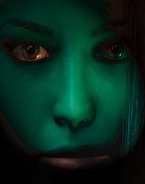 Grün, Frau, Gesicht, Digitale kunst