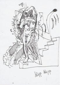 Zeichnungen, Treppe, Knie, Sklave