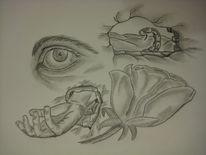 Mauer, Skizze, Augen, Blumen