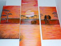 Elefant, Sonne, Landschaft, Malerei