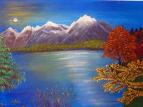 Berge, See, Baum, Malerei