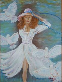 Frau, Taube, Hut, Malerei