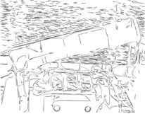Schiff, Zeichnung, Dampfschiff, Hafen