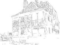 Hamburger, Hafen, Zeichnung, Zeichnungen