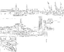 Hafen, Zeichnung, Hamburg, Zeichnungen