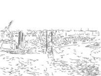 Hafen, Illustration, Zeichnungen, Hafen hamburg