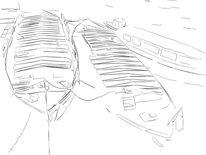 Hafen, Schuten, Hafencity, Zeichnung