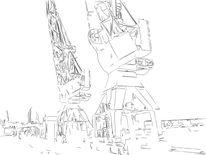 Kran, Hafen, Zeichnung, Illustration