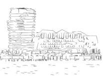 Hafen, Illustration, Hafencity, Zeichnung