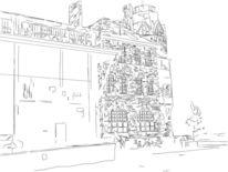 Lagerhaus, Hamburger, Zeichnung, Schuppen