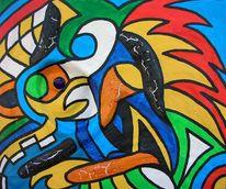 Acrylmalerei, Blau, Farben, Gelb