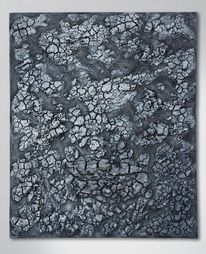 Holz, Acrylrelief, Abstrakt, Grau