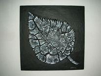 Acrylrelief, Bruch, Holz, Schwarz weiß