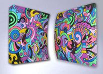 Diptychon, Acrylmalerei, Wandskulptur, Kunsthandwerk