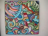 Abstrakt, Acrylrelief, Holz, Wandskulptur