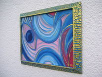 Ölmalerei, Strukturpaste kn 17, Acrylgold, Blau