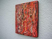Acrylmalerei, Weiß, Gelb, Rot schwarz