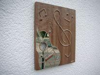 Spiegel, Mosaik, Weiß, Ölmalerei