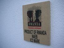 Holzbildträger, Rwanda, Kaffeesack, Mischtechnik
