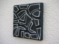 Holzbildhauerei, Polystyrol, Schwarz weiß, Relief