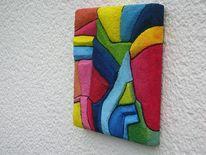 Styroporkügelchen, Holzbildträger, Rot, Gelb