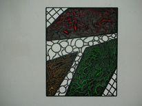 Farben, Holz, Weiß, Acrylrelief