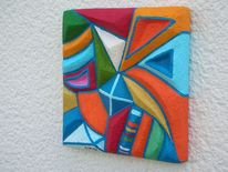 Relief, Blau, Holzbildträger, Weiß