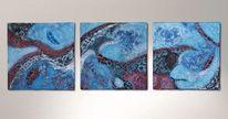 Relief, Triptychon, Acrylmalerei, Malerei
