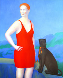 Frau, Portrait, Panther, Rot