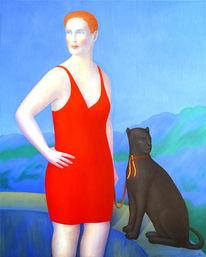 Portrait, Panther, Rot, Wildkatze