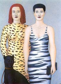Panther, Wildkatze, Frau, Malerei