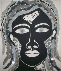 Mosaik, Portrait, Geschirr, Schmuck