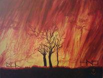 Verkohlen, Waldbrand, Feuer, Wärme