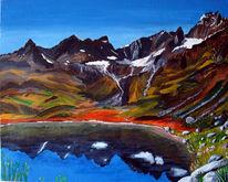 Wasser, Berge, Landschaft, Schnee