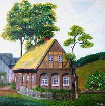Landschaft, Alt, Häuser, Baum